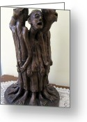 Bronze Sculpture Greeting Cards - Suffering Circle in Bronze sculpture men in rugs standing in a circle with suffering faces crying  Greeting Card by Rachel Hershkovitz