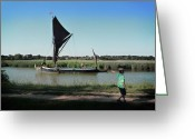 Maltings Greeting Cards - Suffolk Barge Greeting Card by Charles Stuart