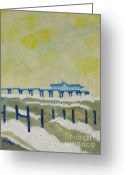 East Anglia Painting Greeting Cards - Suffolk Southwold Pier Greeting Card by Lesley Giles