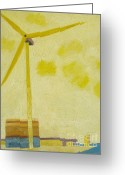 East Anglia Painting Greeting Cards - Suffolk Wind Turbine Ness Pt Greeting Card by Lesley Giles