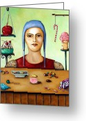 Scream Greeting Cards - Sugar addict Greeting Card by Leah Saulnier The Painting Maniac