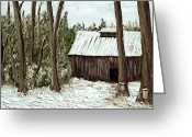 Spring Scenes Painting Greeting Cards - Sugar Shack Greeting Card by Reb Frost