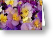 Wife Gift Greeting Cards - Sugared Pansies Greeting Card by Zeana Romanovna