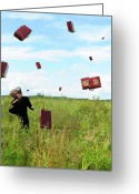 Handsome Greeting Cards - Suitcase rain Greeting Card by Roman Rodionov