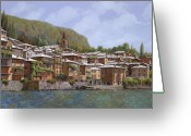 Snow Greeting Cards - Sul Lago di Como Greeting Card by Guido Borelli