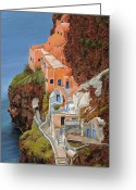 Orange Greeting Cards - sul mare Greco Greeting Card by Guido Borelli