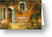 Orange Greeting Cards - Sul Patio Greeting Card by Guido Borelli