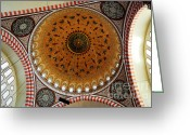 Byzantine Photo Greeting Cards - Sulemaniye Mosque Dome Greeting Card by Dean Harte