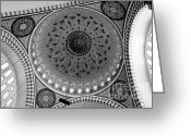 Byzantine Photo Greeting Cards - Sulemaniye Mosque Dome in Black and White Greeting Card by Dean Harte