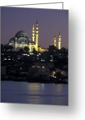 Marmara Greeting Cards - Suleymaniye Mosque Seen From Galata Greeting Card by Richard Nowitz