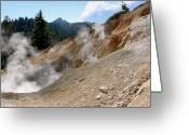Fumarole Greeting Cards - Sulfur Works in Lassen Volcanic Park Greeting Card by Christine Till