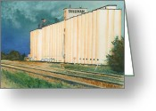 Vegetables Pastels Greeting Cards - Sullivan Elevator Ulysses KS Greeting Card by Tracy L Teeter