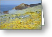 Fumarole Greeting Cards - Sulphur and fumaroles smoke on Vulcano Island Greeting Card by Sami Sarkis