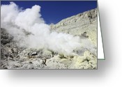 Fumarole Greeting Cards - Sulphur Mine, Kawah Ijen Volcano, Java Greeting Card by Richard Roscoe