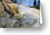 Lassen Greeting Cards - Sulphur Works - Lassen Volcanic National Park Greeting Card by Christine Till