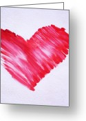 Orange And Yellow Heart Greeting Cards - Sumi Style Heart Greeting Card by Samantha Lockwood