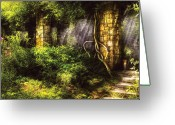 Ancient Ruins Greeting Cards - Summer - I found the lost temple  Greeting Card by Mike Savad