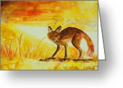 Playful Wolves Greeting Cards - Summer and Autumn  Greeting Card by Sydney Zmitrewicz
