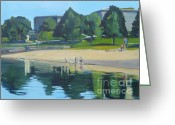 Castle Painting Greeting Cards - Summer at Castle Island Greeting Card by Deb Putnam