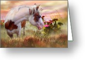 Equine Mixed Media Greeting Cards - Summer Blooms Greeting Card by Carol Cavalaris