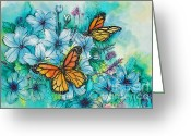 Vinca Flowers Greeting Cards - Summer Butterflies Greeting Card by Deborah Younglao