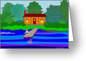 Happy Texas Artist Greeting Cards - Summer Cabin Greeting Card by Fred Jinkins