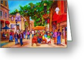 Montreal Restaurants Greeting Cards - Summer Cafes Greeting Card by Carole Spandau