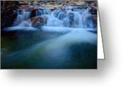 Gorge Greeting Cards - Summer Cascade Greeting Card by Chad Dutson
