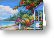 Bay Islands Painting Greeting Cards - Summer Colors Greeting Card by John Clark