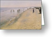 Beach Scene Greeting Cards - Summer Day at the South Beach of Skagen Greeting Card by Peder Severin Kroyer