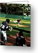 Baseball Mixed Media Greeting Cards - Summer Days Greeting Card by Russell Pierce