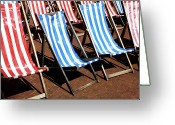 Blue Cobblestone Greeting Cards - Summer Deck Chairs Greeting Card by Richard Newstead