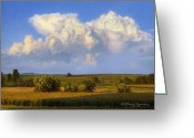 Clouds Drawings Greeting Cards - Summer Evening Formations Greeting Card by Bruce Morrison
