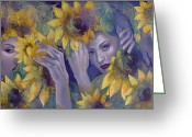 Purple Flowers Greeting Cards - Summer fantasy Greeting Card by Dorina  Costras
