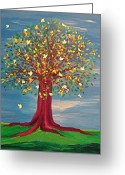 Jrr Greeting Cards - Summer Fantasy Tree Greeting Card by First Star Art