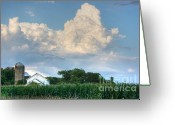 Silo Greeting Cards - Summer Farm in Clouds Greeting Card by David Bearden