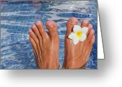 Water Swimming Pool Greeting Cards - Summer Feet Greeting Card by Alex Bramwell