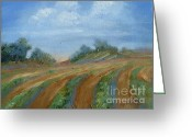 Landscape Posters Painting Greeting Cards - Summer Fields Greeting Card by Sally Simon
