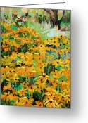 Susan Greeting Cards - Summer Garden  plein air Greeting Card by Marie Massey