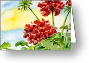 Watercolor Flowers Prints Greeting Cards - Summer Geraniums Greeting Card by Ann Troe