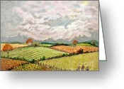 Amish Family Greeting Cards - Summer Harvest Greeting Card by Marilyn Smith