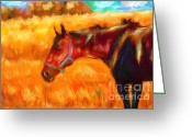 Contemporary Horse Digital Art Greeting Cards - Summer Heat Greeting Card by Michelle Wrighton