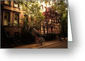 Tree-lined Greeting Cards - Summer in New York City - Greenwich Village Greeting Card by Vivienne Gucwa