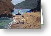 Sunbathing Greeting Cards - Summer in Spain Greeting Card by Andrew Macara