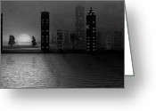 David Dehner Greeting Cards - Summer In The City - BW Greeting Card by David Dehner