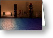 David Dehner Greeting Cards - Summer in the City Greeting Card by David Dehner