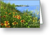 Blue Green Water Greeting Cards - Summer in Toronto park Greeting Card by Elena Elisseeva