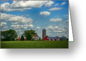 Silo Greeting Cards - Summer Iowa Farm Greeting Card by Bill Tiepelman