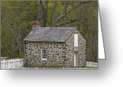 Stone Chimney Greeting Cards - Summer Kitchen in Spring - Colonial Stone Greeting Card by John Stephens