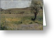 Ete Greeting Cards - Summer landscape Greeting Card by Jules Bastien-Lepage